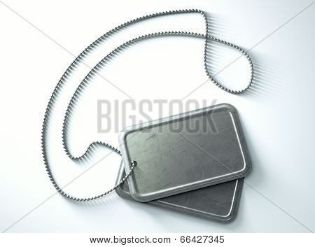 Blank Identity Dog Tags Isolated