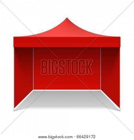 Red folding tent. Vector.