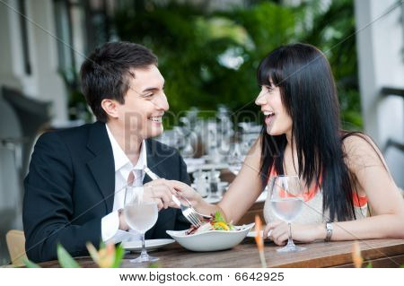 Couple Eating Outdoors