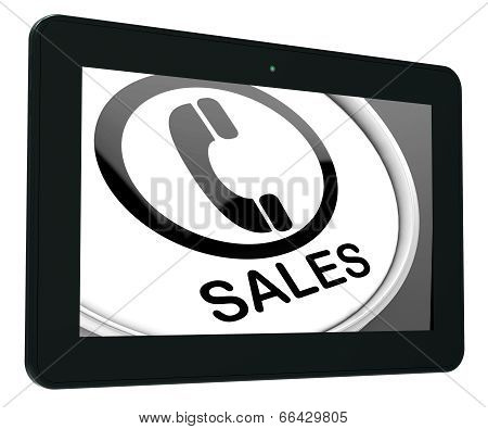 Sales Tablet Shows Call For Sales Assistance