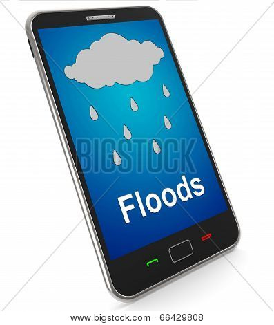 Floods On Mobile Shows Rain Causing Floods And Flooding