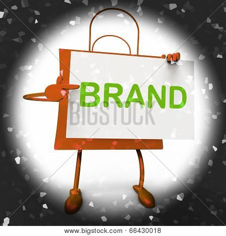 Brand Shopping Bag Shows Branding Trademark Or Product Label
