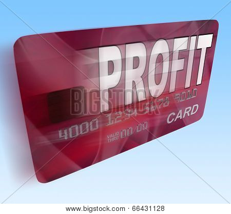 Profit On Credit Debit Card Flying Shows Earn Money