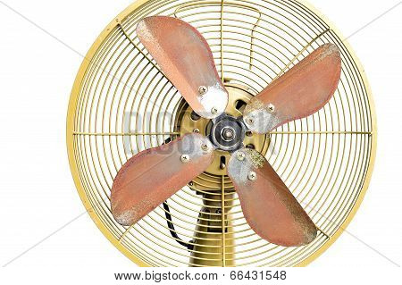 Vintage Yellow Electric Fan On White Background