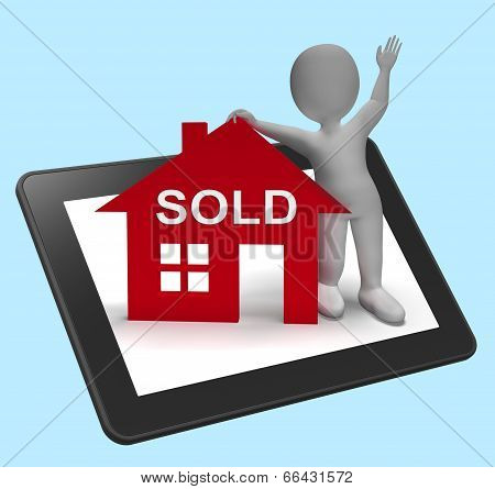 Sold House Tablet Means Successful Offer On Real Estate
