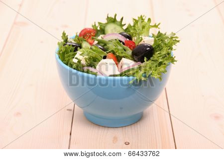 Mediterranean Salad, Gigantic Black Olives, Sheeps Cheese
