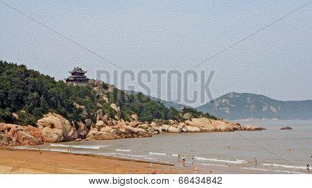 Buddhist Temple Towering Above Beach On Putuo Island, China, , Oil Paint Stylization
