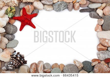 Red Starfish And  Multicoloured Pebbles Isolated On White Background