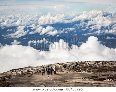 Hikers Walking at the Top of Mt Kinabalu, Malaysia