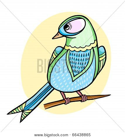 Illustration Of Cartoon Beautiful Bird Sitting On Brunch