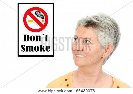 beautiful happy Mature woman looking for a non smoke sign