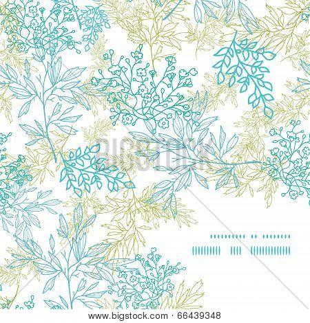 Scattered blue green branches frame corner pattern background