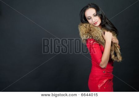 beautiful sensual dark-haired girl in charming red dress