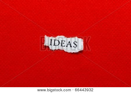 A scrap of paper with the word ideas