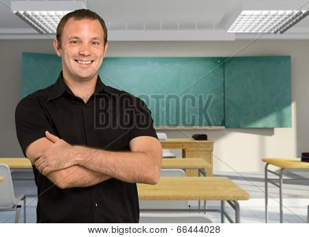 Portrait of a male friendly teacher in a classroom