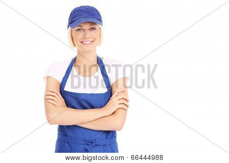 A picture of a pretty woman in a blue uniform over white background