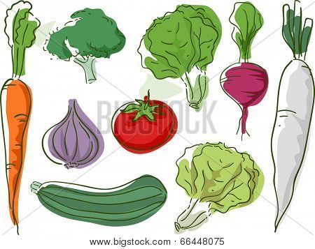 Sketchy Illustration Featuring Different Types of Vegetables