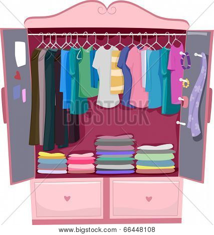Illustration of a Pink Wardrobe Full of Women's Clothes