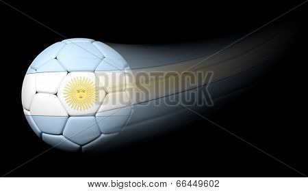 Soccer ball with Argentinian flag in motion on black
