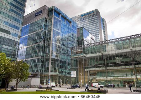 LONDON, CANARY WHARF UK - MAY 16, 2014: - Modern glass architecture London