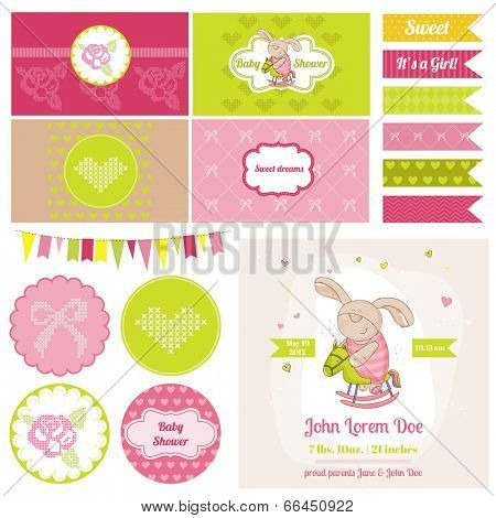 Baby Shower Air balloon Theme  - for Party, Birthday, Scrapbook or Design Elements - in vector