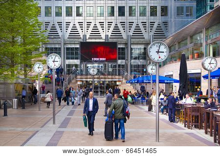 LONDON, CANARY WHARF UK - MAY 26, 2014: Modern glass architecture of Canary Wharf business aria, and