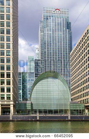 LONDON, CANARY WHARF UK - June 26, 2014: - Modern glass architecture London