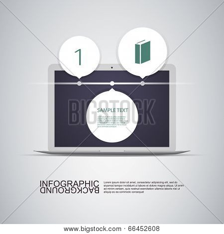 Circle Light Text Boxes with Laptop Computer Can Be Used for Workflow Layout, Diagram, Chart, Timeline, Web Design. Eps 10 Stock Vector Illustration