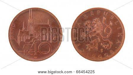 Czech koruna coins isolated on white