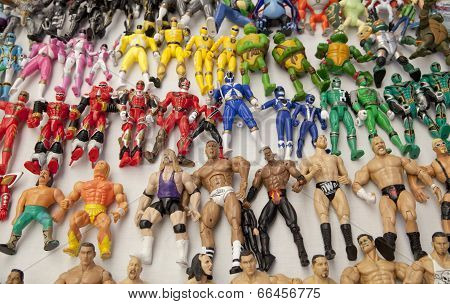 LONDON, UK - MAY 15, 2014: Super man toys collection, Greenwich market. Famous place to buy an art,
