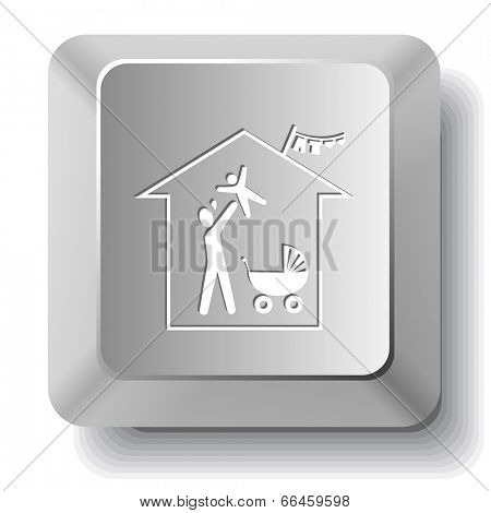 Family home. Vector computer key.
