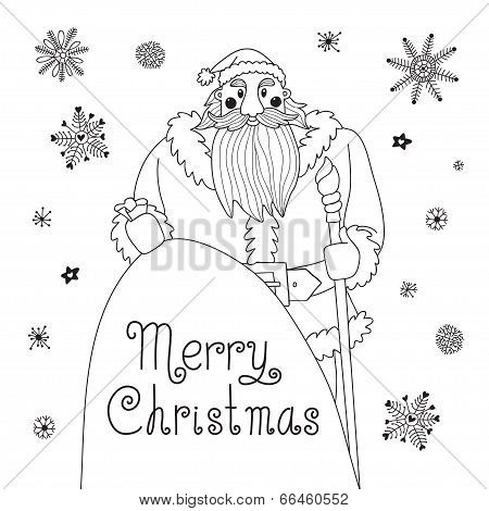 Sketch Christmas card with a mighty Santa