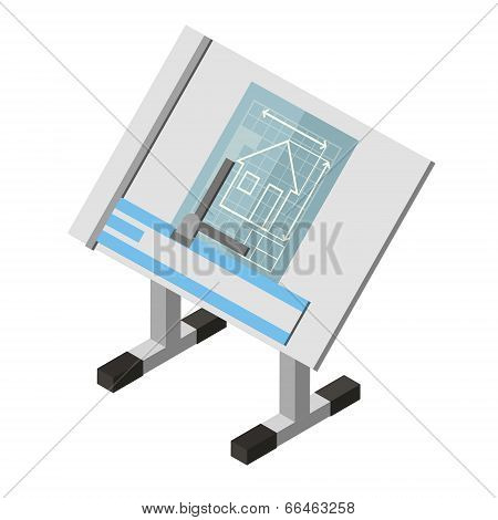 Projecting Engineer Table House Architecture Drawing Isometric Isolated White Background Trendy Mode