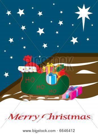 Santa sleigh full of gift