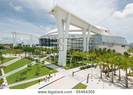 MIAMI,USA - JUNE 1,2014 : The Miami Marlins Major Leagues baseball stadium in Little Havana