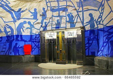 Elevators on T-Centralen station on the Blue Line designed by Per Olof Ultvedt in 1975 in Stockholm