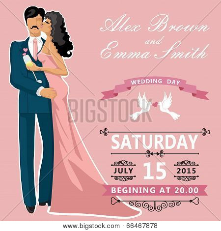 Kissing Couple Bride And Groom. Cute Edding Invitation