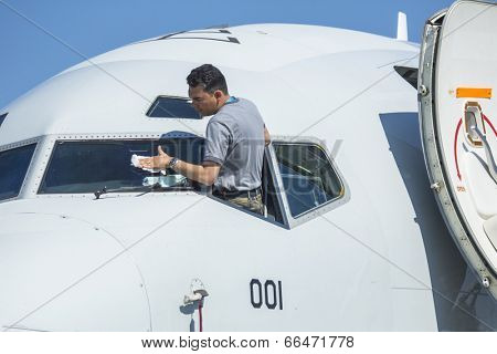 BERLIN, GERMANY - MAY 20, 2014: Unidentified participants staff during the International Aerospace Exhibition ILA Berlin Air Show-2014.