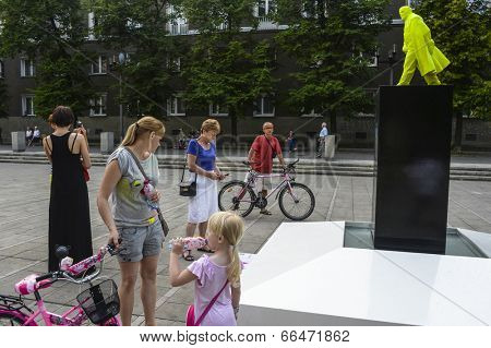 NOWA HUTA, POLAND - JUNE 11, 2014: Fountain of the Future Project as part of the Artboom Krakow Festival (grotesque bright green Vladimir Lenin do urination)