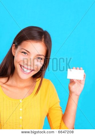 Woman Showing Card / Sign