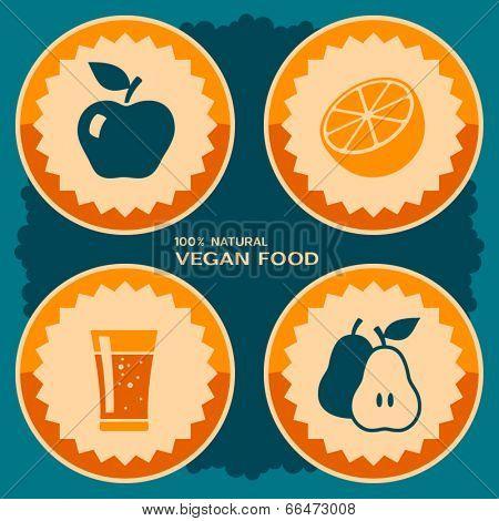 Vegan food poster design. Vector illustration in retro style