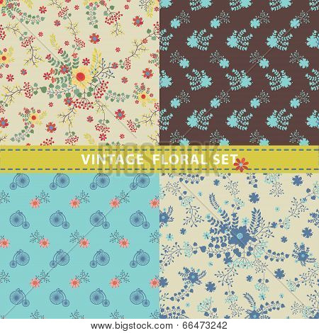 Seamless Pattern Set.flowers, Branches, Berries.retro Style