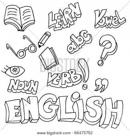 An image of english symbols and learning items.