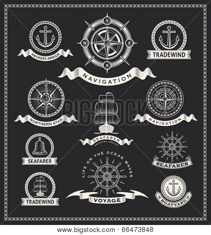 Vintage nautical labels. Vector design set