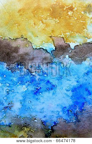 Blue Brown and Ochre Watercolor