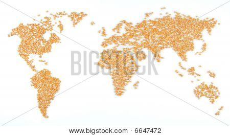 World map of corn (food for the world)