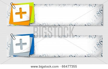 Set Of Two Banners With The Texture Of The Numbers And Plus Sign