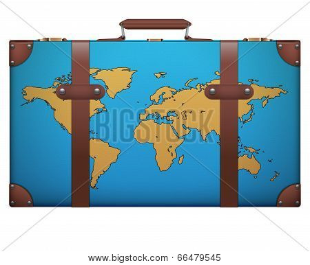 Classic vintage luggage suitcase for travel with map