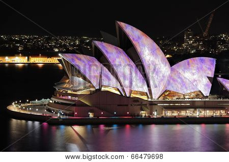 Iconic Sydney Opera House During Vivid Festival