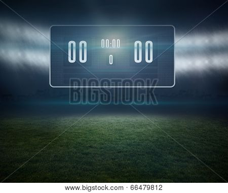 Digitally generated football pitch with black scoreboard
